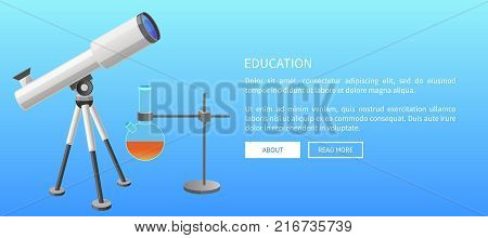 Education web banner with modern refractor telescope with steel tripod and metal retort stand with clamp glass laboratory flask vector illustration