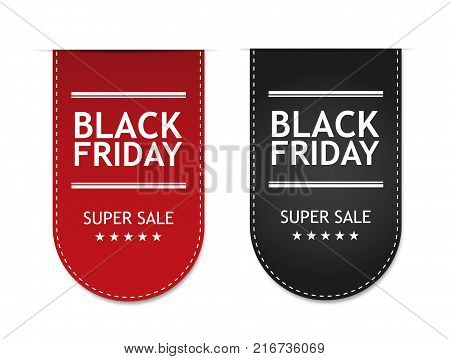 Black Friday isolated on white background. Vector illustration. Sticker, badge, sign, stamp, logo, banner, icon or label.