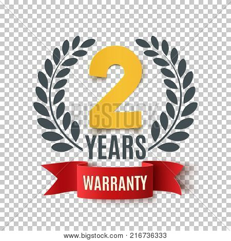 Two Years Warranty background with red ribbon and olive branch. Poster, label, badge or brochure template design. Vector illustration.