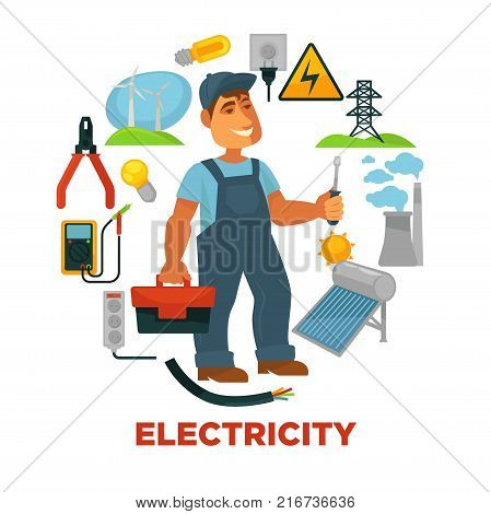 Electrician with toolkit surrounded with electricity sources and tools. Wind generators, bright bulbs, tall tower, plant pipes, solar battery, small voltmeter and power sockets vector illustrations.