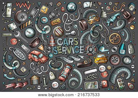 Vector hand drawn doodle cartoon set of Automobile objects and symbols