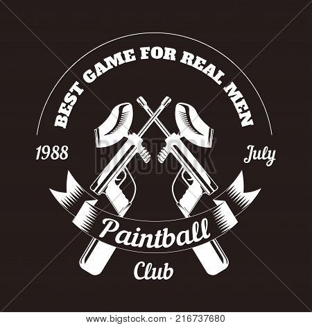 Paintball club logo template of pint ball gun rifles crossed with ribbon. Vector paintball game sport isolated retro icon of gamer shooting target weapon