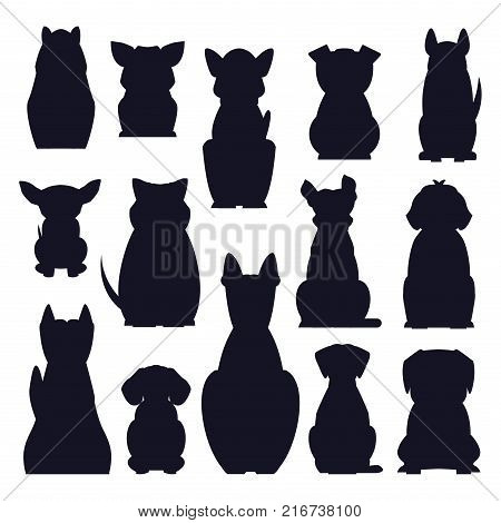 Cartoon dog breeds dark silhouettes isolated on white background. Small and big dogs vector illustration. Adorable, funny and loyal humans friends. Hunting, protection and decorative species poster