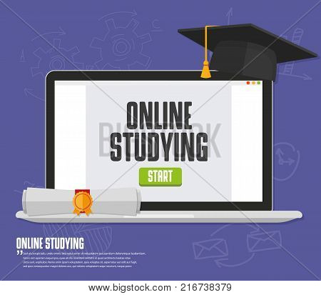 Online training, education, studing with monitor Vector illustration image eps
