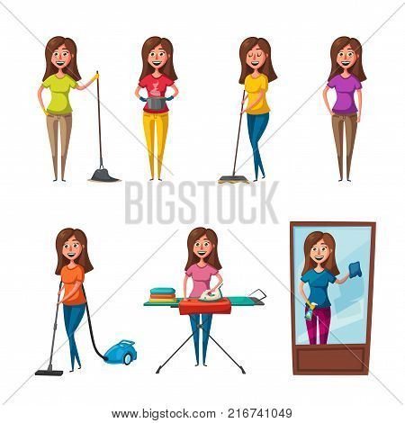 Set of housewife characters. Cleaning theme. Cartoon vector illustration. Staff character with cleaning equipment. Housework, ironing, mopping floor, washing windows and cooking