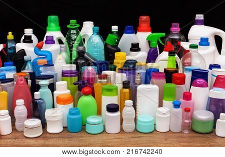 Set of usual plastic bottles from an average household - pollution at every level of our lives concept