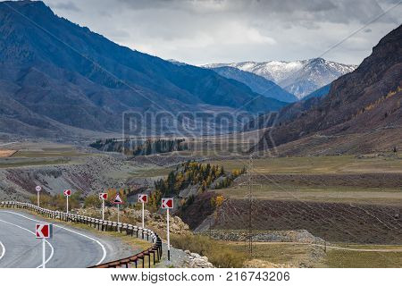 Federal highway Chuysky tract passing through the Altai Mountains. Russia, the Altai Republic