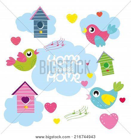 home sweet home, vector set cartoon birds, hearts, bird house