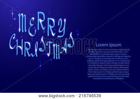 Merry Christmas lettering holiday calligraphy with luminescence stars for banner poster greeting card party invitation of vector illustration