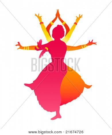 Colorful classic Indian female dance Bharatanatyam