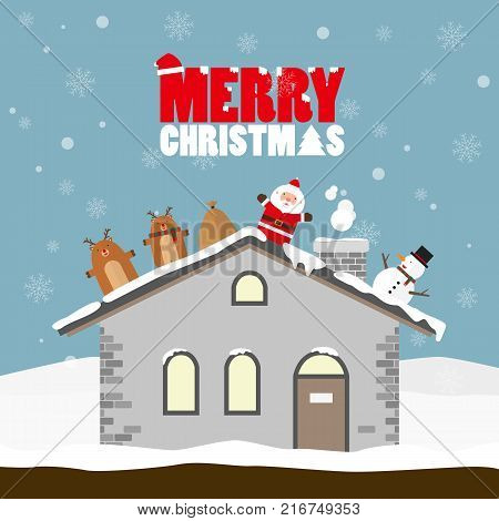 Reindeer Santa Claus Snowman Merry Chrismas flat design on roof on light blue background. Snow flake falling.