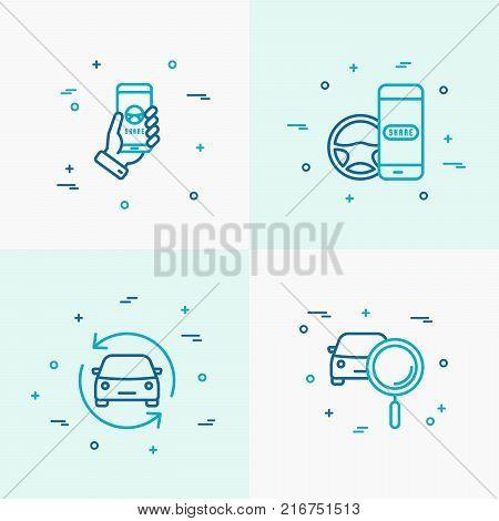 Car sharing thin line icons set. Modern vector illustration of rental service.