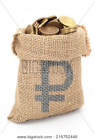 Bag from sacking with ruble isolated on a white background.
