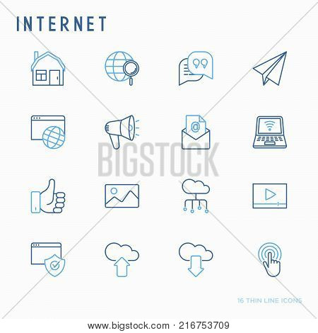 Internet thin line icons set: e-mail, chatm laptop, share, cloud computing, seo, download, upload, stream, global connection. Modern vector illustration.