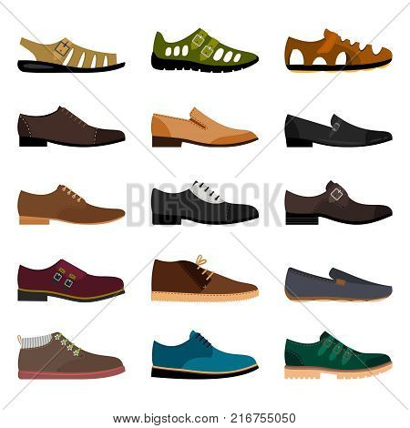 Men shoes isolated on white background. Vector vogue winter leather and summer fashion model man shoe collection illustration