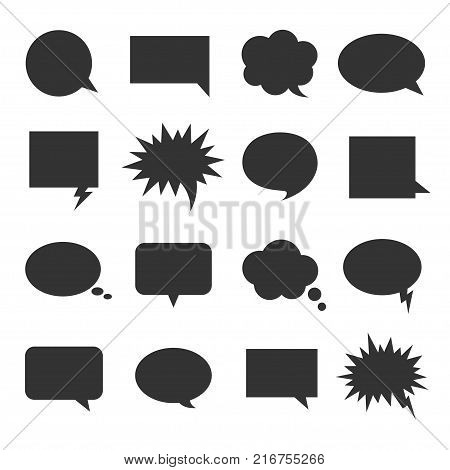 Bubble talk icon set. Round shape and square bubble next to the head of a character in a cartoon to express speech or idea. Vector flat style cartoon illustration isolated on white background