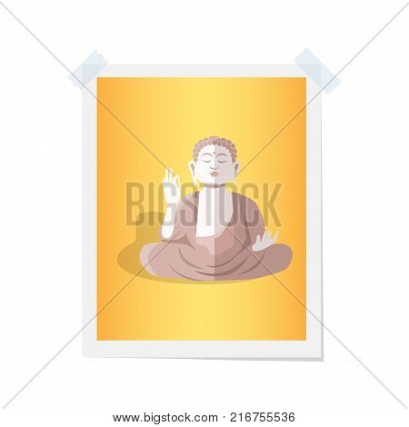 Buddha statue on isolated yellow photograph on white. Vector colorful illustration in flat design of attached picture with brown religious statue in lotus position by two pieces of scotch tape.