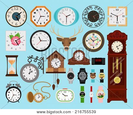 Clocks collection. Analog old and wooden wall clock and digital hands watch, hourglass and electronic stopwatch set vector illustration