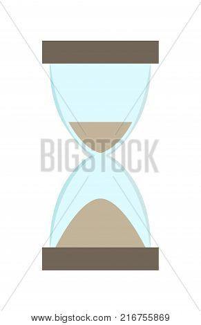 Hourglass with more sand in bottom part than in top one. Vector illustration of ancient tool for counting time isolated on white background