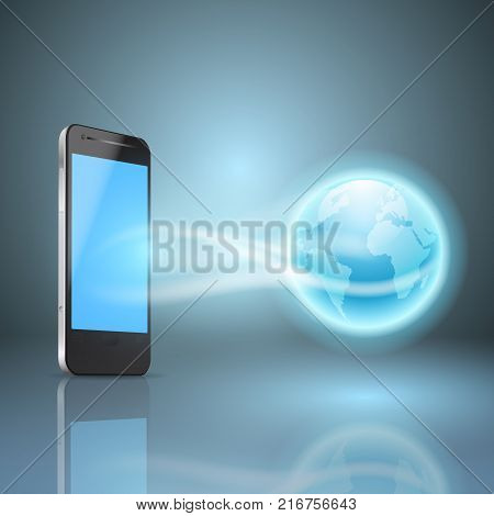 Phone and the globe, mobile internet concept. EPS10 vector.
