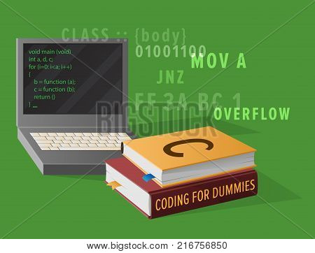 Portable computer and thick textbooks for Informatics studies isolated vector illustration. Open laptop with program code on screen. poster