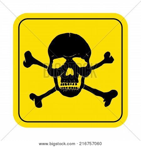 Danger sign with skull symbol. Deadly danger sign, warning sign, danger zone. Vector illustration