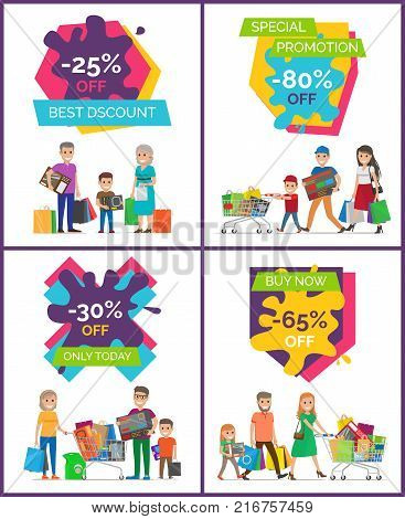 Best discount -25 off, special promotion only today, placards made up of titles, icons of people and their bought stuff vector illustration