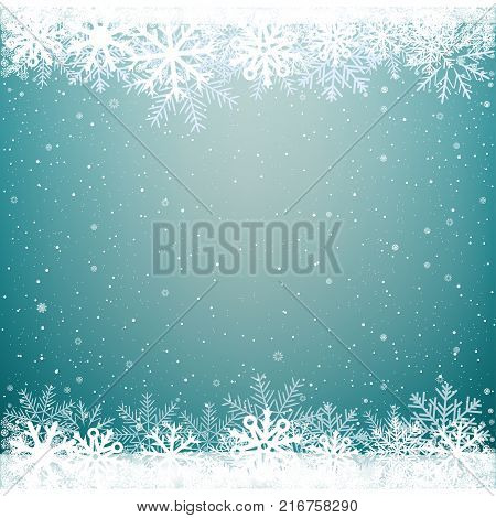 Blue sky cloud snow background. Falling snowflakes azure backdrop. Christmas winter decoration design template