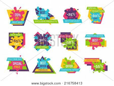 Best price exclusive products, -70 off sale, fantastic offer, stickers set made up of shapes, blots and text, vector illustrations isolated on white