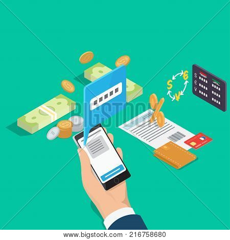 Managing financial operations online concept. Phone in hand, money in cash and wallet with credit card isometric vector. Currency conversion, calculation of interest on loan or deposit 3d illustration