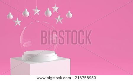 Empty snow glass ball with white tray and podium on pastel pink background with hanging  balls and stars ornaments. For new year or Christmas theme. 3D rendering.