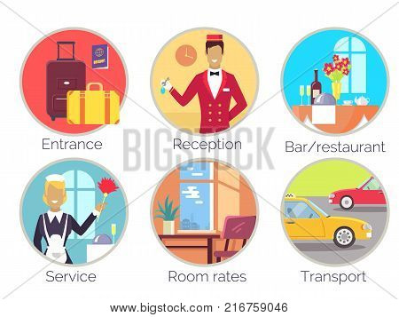 Entrance and reception, bar and restaurant service, room rates, transport, icons of baggage, wine and flowers, cars and plant vector illustration