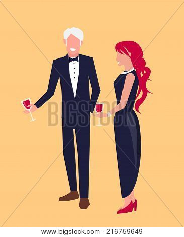 Couple dressed officially talk smiling. Both people on vector illustration have glasses of wine. Shapes of lovers isolated on orange background