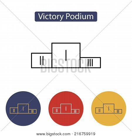 Sport winners podium. Champions podium line icon.Second Place. First Place. Third Place. Outline pictogram for web site design and mobile apps. Vector illustration. Editable stroke.
