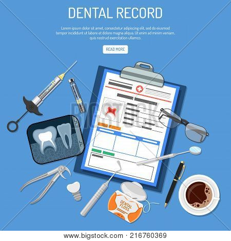 Medical Dental record concept with flat icons card of patient, cartridge syringe, x-ray and dental tools. isolated vector illustration