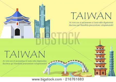 Taiwan colorful banner with architectural constructions in oriental style. Vector poster in flat design of Skyscraper Taipei 101, Tuntex Sky Tower, special bridge and other landmarks for visiting