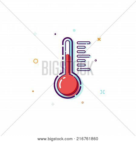 Concept thermometer icon. Thin line flat design element. Measure and measurement concept. Vector illustration isolated on white background