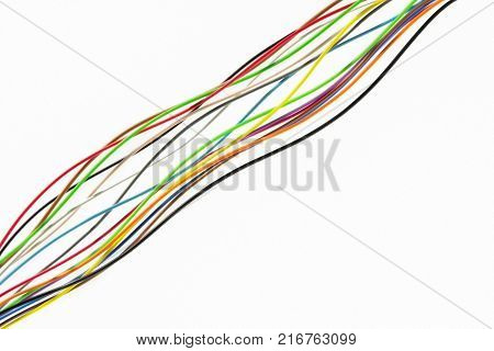 Colorful electrical wire used in internet cable network and computer system with white background