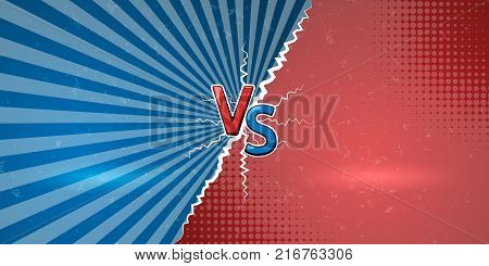 Banner with an explosive manifestation of confrontation. Creative letters VS us a symbol of versus on retro background. Vector illustration