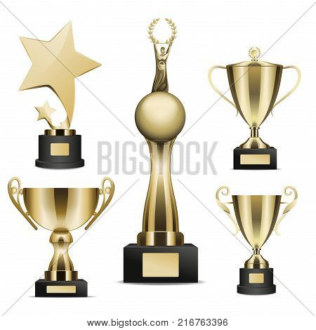 Trophy cups set. Golden stars, human figure on globe with laurel wreath in hands statuettes and goblets on stand with nameplate realistic isolated vector. Sports prize or business awards illustration