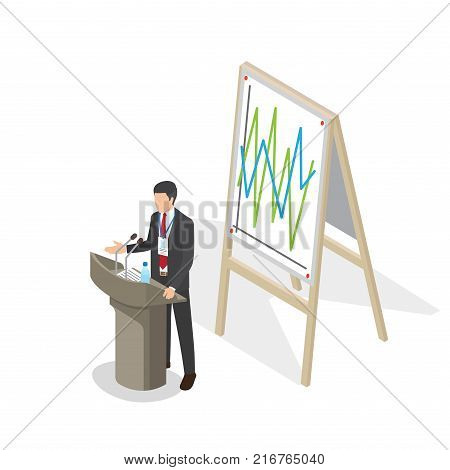 Businessman presentation at podium with schedule on poster. Person in business suit with name badge stands behind podium with two microphones, paper with text and bottle of water vector illustration