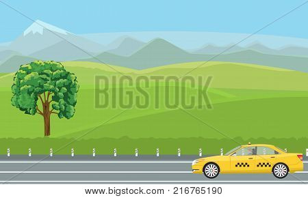 A yellow taxi car passing by a gorgeous green landscape. Illustrated vector.