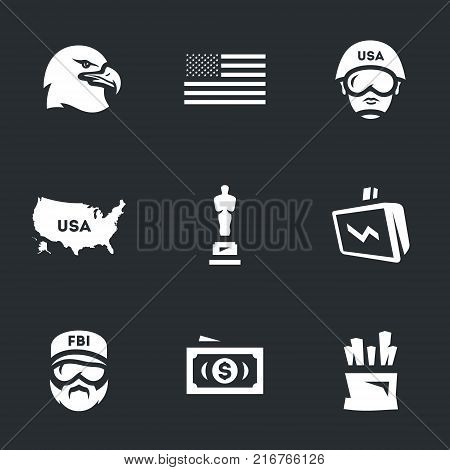 Eagle, flag, soldier, map, cinema award, exchange, fbi, dollar, potato.