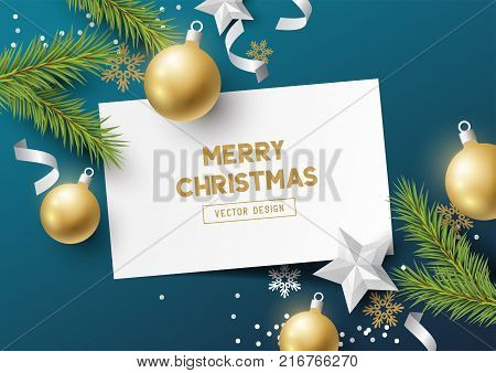 Festive Christmas Composition with fir branches christmas baubles and snowflakes on a colorful abstract background. Top view vector illustration.