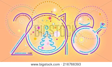 2018 New Year abstract numerals,  illustration of 2018 New Year numerals and colorful decorations.
