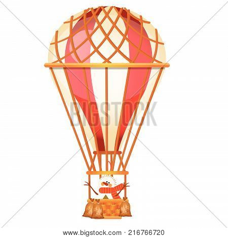 Bright aerostat with snowman isolated on white background. Vintage air transport for trip around the world, travels, romantic adventures. Character of Christmas. Vector cartoon close-up illustration.