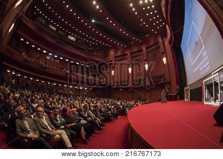 Thessaloniki Greece - November 7 2017: Spectators watching in the cinema during the 58th international Thessaloniki Film Festival at Olympion Cinema