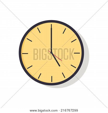 Yellow clock with hands showing time with hours and minutes, image represented on vector illustration isolated on white background