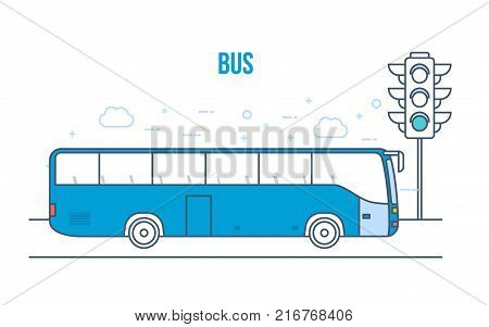 Urban public transport bus, cityscape, high skyscrapers, low houses on city street. Passenger bus traveling along road. Bus boarding. Travel, vacation, leisure, traffic light. Vector illustration