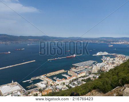 Beautiful Gibraltar roch viewAmazing Gibraltar Rock view to Marokko